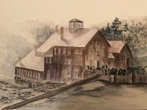 Watercolor of cutlery mill in Bernardston, MA