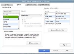 quickbooks filters